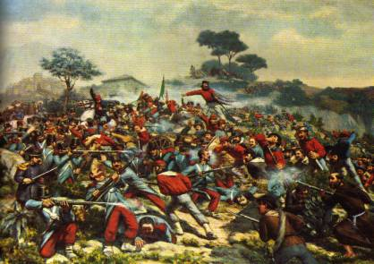 The battle of Calatafimi in a painting of R.Legat
